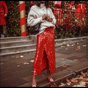 Zara red midi sequin skirt with slit